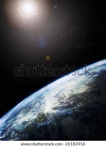 Earth and sun, photorealistic image - stock photo