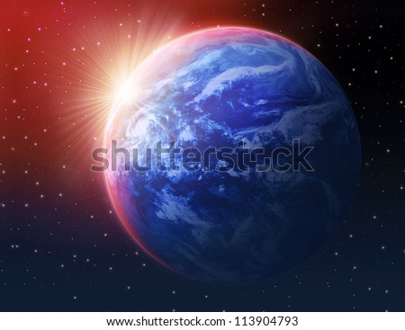 Earth and Sun-rays - stock photo