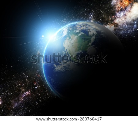 earth and sunbeam in galaxy space element finished by nasa - stock photo