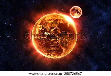 Earth and the Moon Destroyed - Elements of this Image Furnished By NASA - stock photo