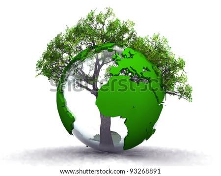 earth and tree - stock photo