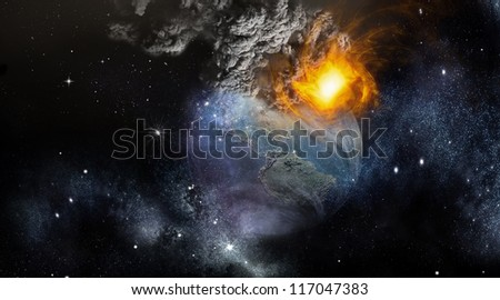 Earth Apocalypse -  Digital 3D image. Elements of this image furnished by NASA - stock photo