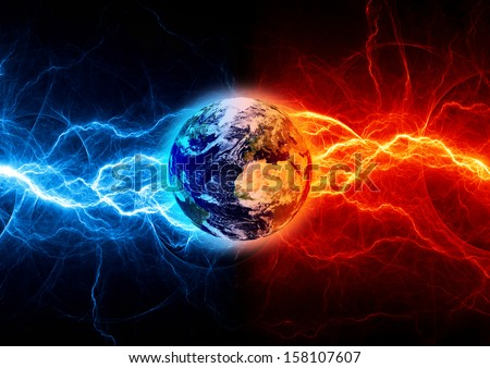 Earth apocalypse in the fire and ice lightnings. Elements of this image furnished by NASA. - stock photo