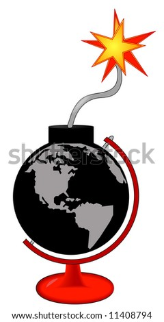 earth as an explosive bomb with lit fuse in stand - stock photo