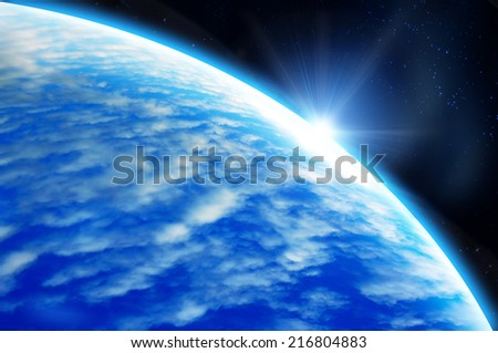 Earth as seen from outer space - stock photo