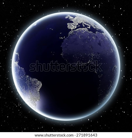Earth at night showing Africa, Europe and the Americas. Elements of this image are furnished by NASA. - stock photo