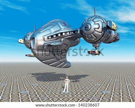 Earth Atmosphere with Alien Spacecraft Computer generated 3D illustration - stock photo