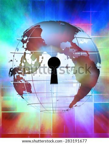 Earth Binary Code and Key - stock photo