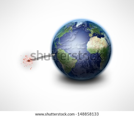 Earth Bomb elements furnished by NASA - stock photo