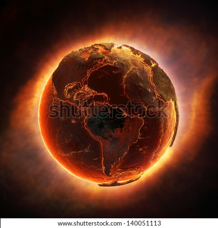 Earth burning after a global disaster (Elements of this 3d rendered image furnished by NASA) - stock photo