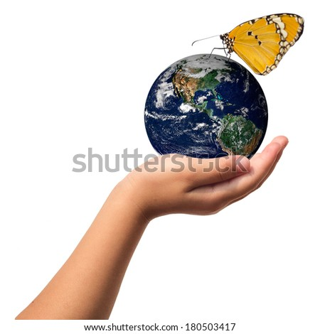 Earth care with helping hands concept ..Elements of this image furnished by NASA - stock photo