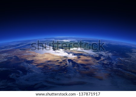 Earth Close-up 3d render Series: Mediterranean Countries (Elements of this image furnished by NASA ) - stock photo