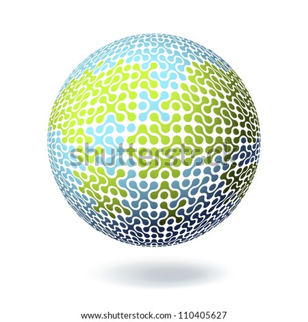 Earth Connections concept. Poster design template. Raster version, vector file available in portfolio. - stock photo