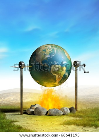 Earth cooked on a campfire as a metaphor of planetary temperature rise. Digital illustration. - stock photo