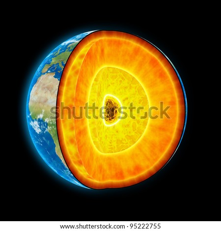 Earth cut-away with visible iron core and all the geological layers in scale - stock photo