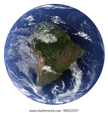 Earth 3D (Clouds&Topography maps come from earthobervatory/nasa) - stock photo