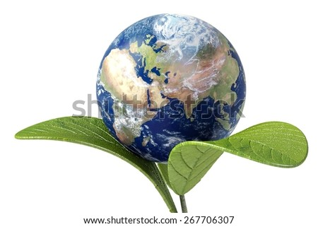 Earth. 3D. Green Earth - stock photo