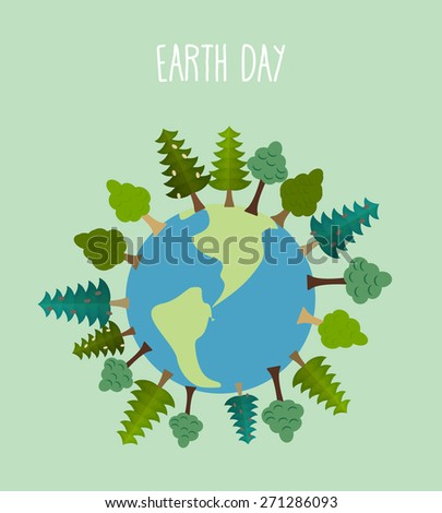 earth day. Earth with trees. Trees and grass silhouettes - stock photo