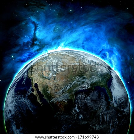 Earth - Elements of this image furnished by NASA - stock photo