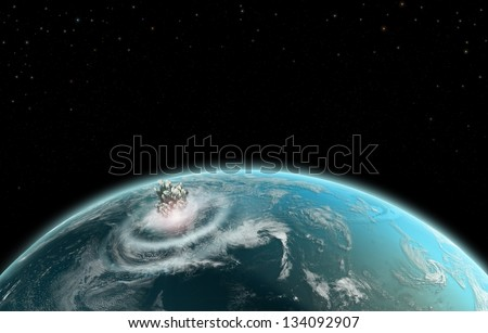 Earth Explosion Impact - Elements of this image furnished by NASA - stock photo