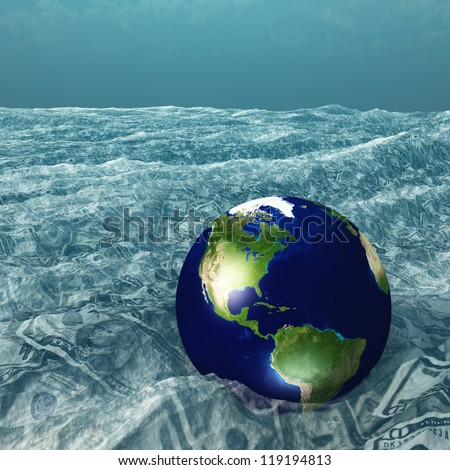 Earth floats in US Currency sea - stock photo