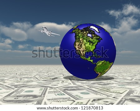 Earth Focus Americas on Dollar Surface with Aircraft Nasa image used to create globe - stock photo