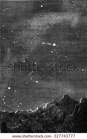 Earth from Mercury, vintage engraved illustration. Magasin Pittoresque 1877. - stock photo