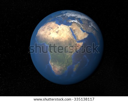Earth from space Africa without clouds. Planet Earth in space with stars on the background. - stock photo