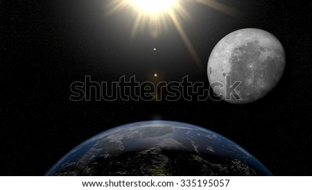 Earth from space Asia. Planet Earth, Moon and Sun in space with stars on the background. - stock photo