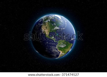 Earth from space. North and South America are in focus.Transparent water, shaded relief, natural colors, clouds coverage. World map courtesy of NASA. - stock photo