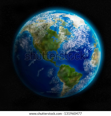Earth from space showing North and South America. Detailed image./ Elements of this image furnished by NASA - stock photo