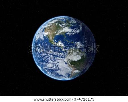 Earth from space. View of North America in daytime. 3D realistic illustration. (Elements of this image furnished by NASA.) - stock photo