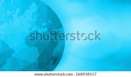 Earth globe abstract background. Low poly (polygon) effect and blue blur smooth free empty space. - stock photo