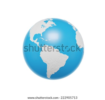 Earth globe. Americas North and south view. Isolated on white background. Elements of this image furnished by NASA  - stock photo