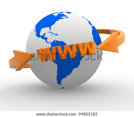 Earth globe and  arrows. Internet World Wide Web Concept ( www). 3d render - stock photo