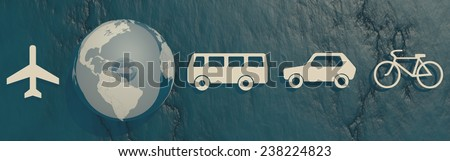 earth globe and passenger transport vehicle icons on blue stone backdrop - stock photo