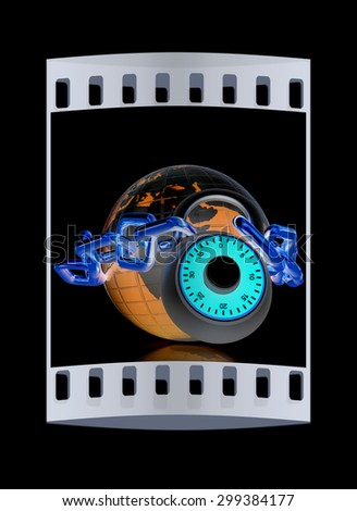 Earth globe close in chain and padlock on a black background. The film strip - stock photo