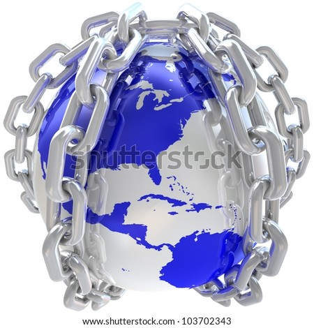 Earth globe close in chain. 3D render. - stock photo