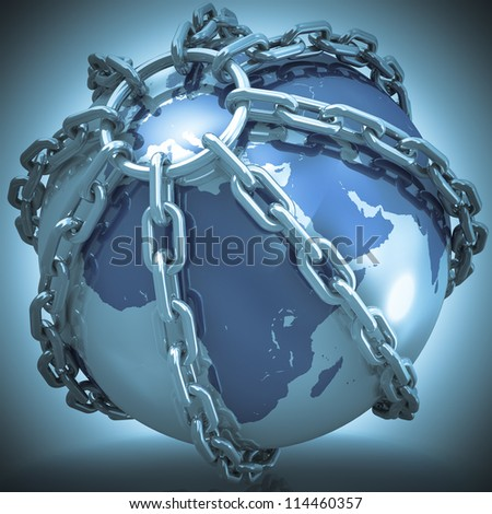 Earth globe close in chain. 3D render. Elements of this image furnished by NASA. - stock photo