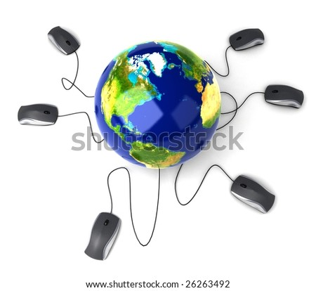 Earth Globe connected with computer mouses - stock photo