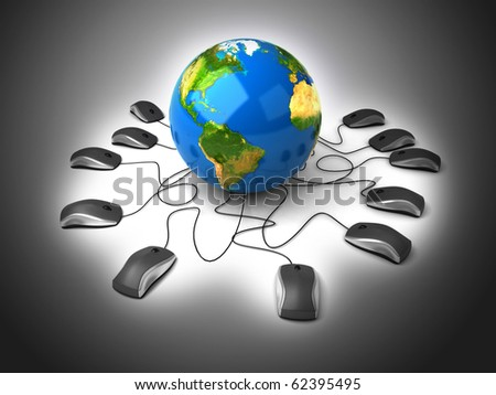 Earth Globe connected with computer mouses. - stock photo