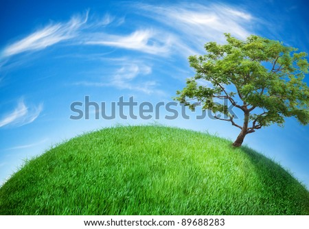 earth globe covered with grass - stock photo