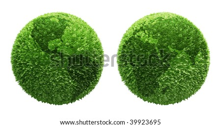 Earth globe covered with leafs with outlines of the continents - stock photo
