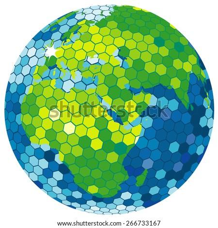 Earth globe disco ball - stock photo