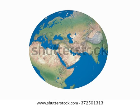 Earth globe elements furnished by NASA, isolated, white background - stock photo