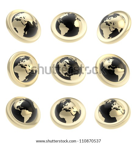 Earth globe emblem black and golden tag in nine foreshortening isolated on white - stock photo