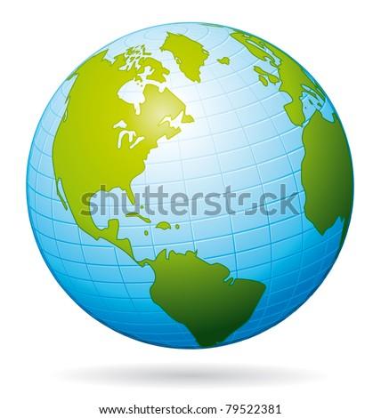 Earth globe icon. American view. - stock photo