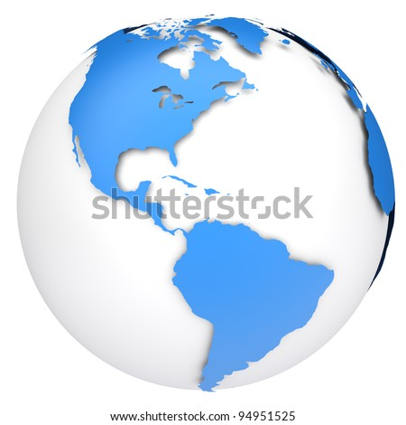 Earth globe map. Side of the North and South America - stock photo
