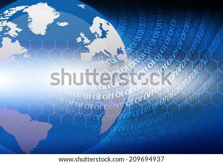 Earth globe on digital binary background  - stock photo