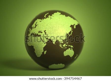 Earth Globe on grin background - stock photo